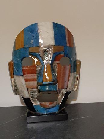 Estatueta mexicana - Cabeça Azteca em mosaicos