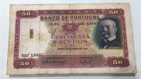 Nota Portugal 50 escudos 1949