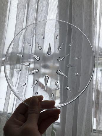 Talerz Drop Ząbkowice szkło prl