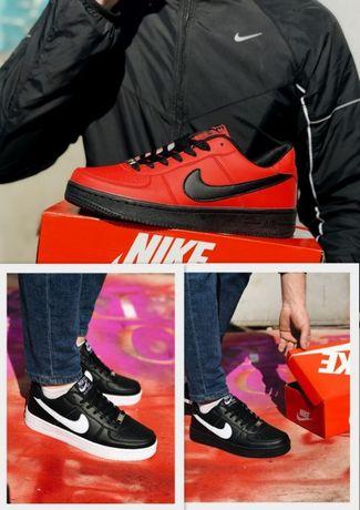 Кроссовки белые/черные/красные Nike Air Force Найк Аир Форс