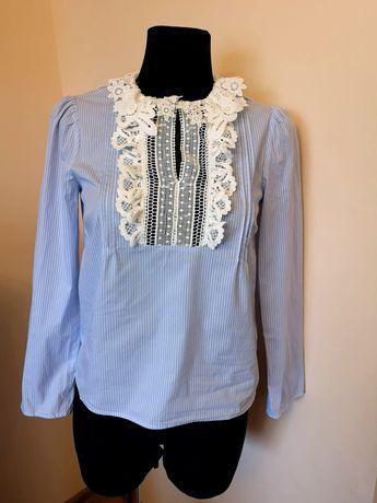 Koszula damska ZARA biała koronkowa niebieska na święta 36 S 34
