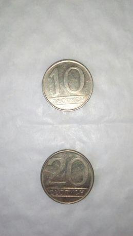 Monety o nominale 10 i 20 złotych z lat 80 tych