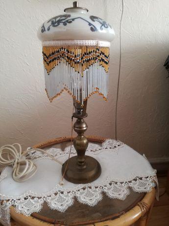 Lampka z mosiądzu ze szklanym abażurem