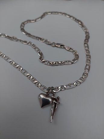 Łańcuszek z zawieszkami srebro 925