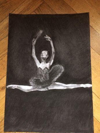 Rysunek węglem baletnica format A3