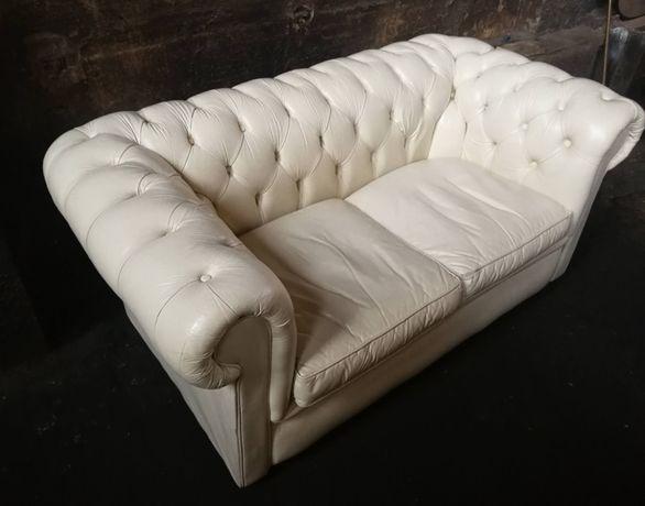 *Stylowa, elegancka sofa chesterfield, skóra* transport