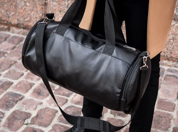 Мужская городская, дорожная спортивная кожаная сумка бочка-299грн