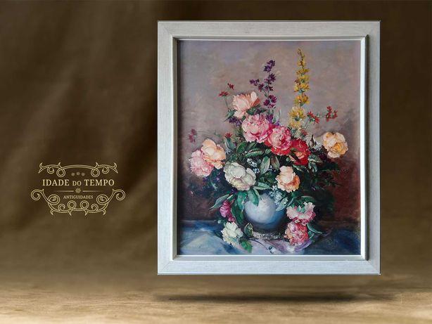 Pintura Antiga a óleo sobre tela - Flores 70x80