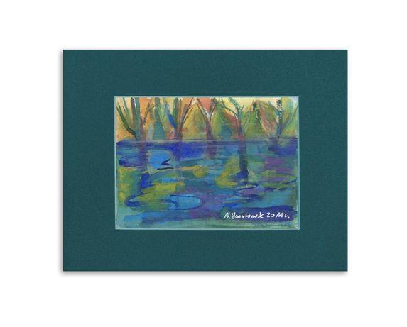 pejzaż akwarela, obraz malowany ręcznie, woda obraz, rysunek do salonu