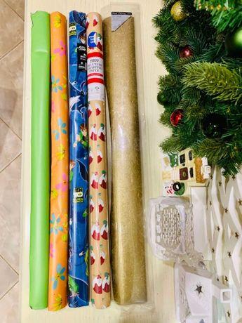 Бумага для упаковки подарков, новогодняя, 70 см. Цена за всё!