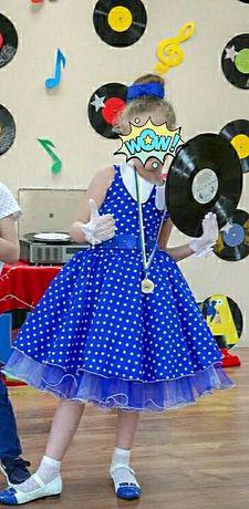 Очень красивое платье стиляги на выпускной в детский сад на 6-8 лет