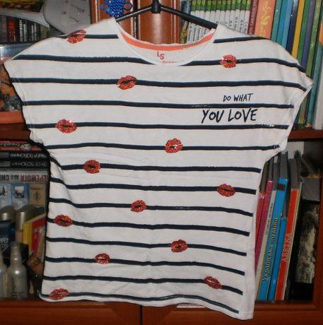 Хлопковая футболка с блестящими губками на девочку 146 размера