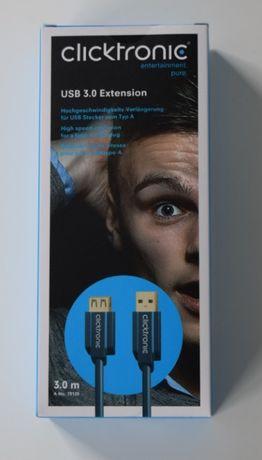 Przedłużacz USB 3.0 CLICKTRONIC 3m. A/B HQ 24k ZŁOTO NOWY
