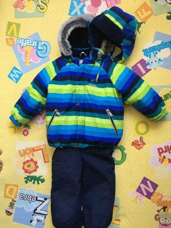 зимний комплект куртка и полукомбинезон  шапка на мальчика зима lenne