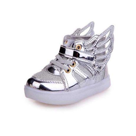 SREBRNE Dziecięce buty Świecące LED ze skrzydełkami r.23