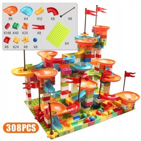 Klocki tor kulkowy zestaw 296 elementów - kompatybilne z lego duplo