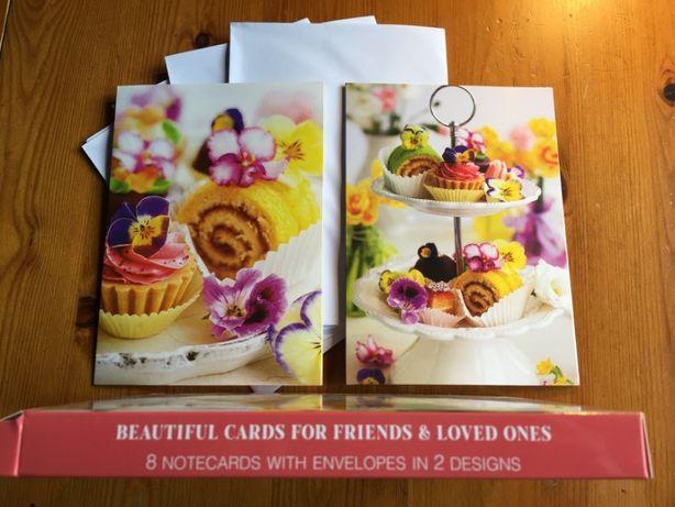 Kartki pocztowe kulinarne + kwiaty 8szt. duże rozkładane z kopertami