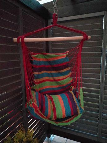 Huśtawka Ogrodowa Kolorowa Hamak Brazylijski z Poduszkami 01