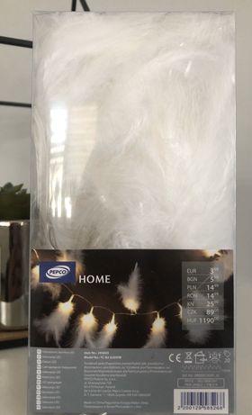 Dekoracja świecąca led , białe piórka