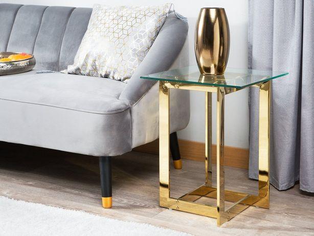 Mesa de apoio dourada com tampo de vidro CRYSTAL - Beliani