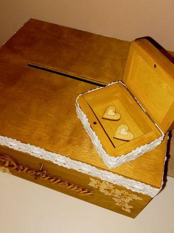 Skrzynia  na koperty ,pudelko na obrączki zestaw na ślub