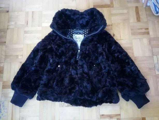 Next Czarne futerko 140 kurtka płaszcz przejściowy dziewczęcy święta