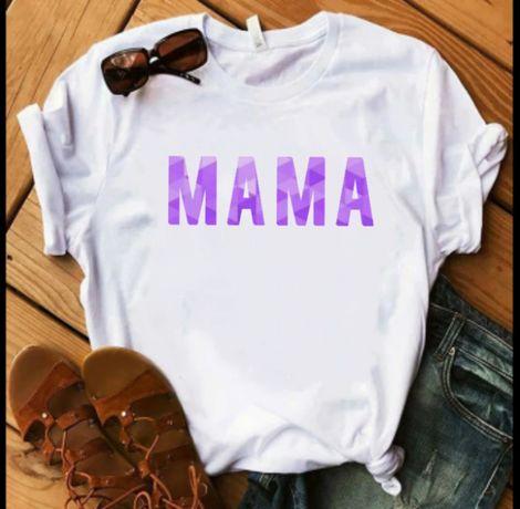Koszulka bluzka t-shirt MAMA Lila liliowa napis S-XXL