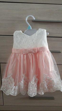 Tiulowa sukienka 74/80 na chrzest/roczek NOWA z metką