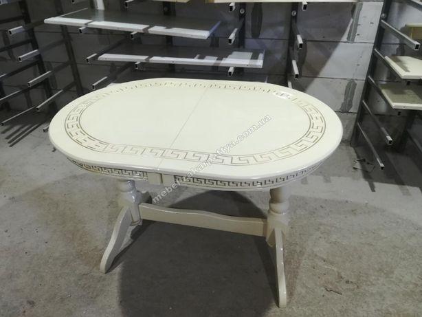 Стол деревянный раскладной. Овальный на двух ножках. Кухонный белый.