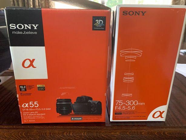 Sony alfa 55 + 2 obiektywy + ładowarka + torba GRATIS