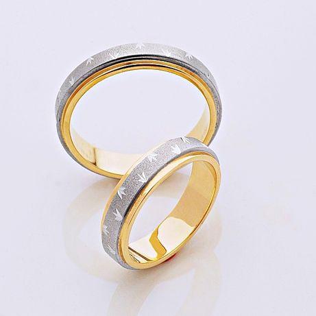 Obrączki dwa kolory złota bikolor żółte złoto białe palladowe zdobione