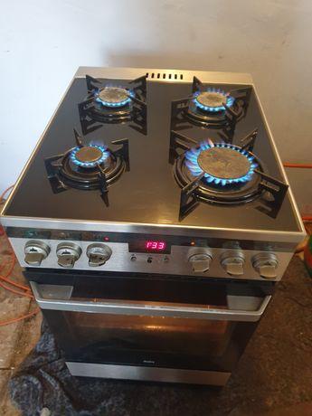 Kuchenka gazowa z piekarnikiem elektrycznym termoobieg Czarne szkło