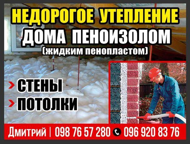 Утепления Задув ка межстеновых пустот, и чердаков дома (Пеноизолом).