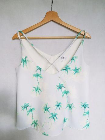 Biała bluzka w zielone palmy rozm. S