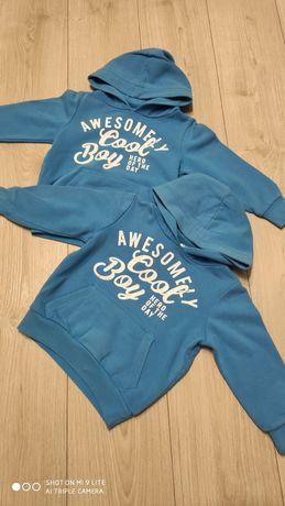 Bluza niebieska z kapturem rozm 104 C&A dwie sztuki