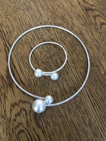 Komplet perły wysadzany cyrkoniami