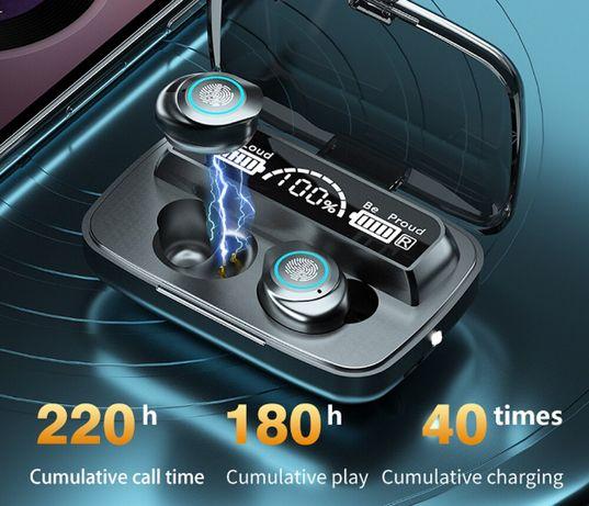 Słuchawki Bluetooth TWS F9 Bezprzewodowe + Power Bank LCD + 6 Koncówki