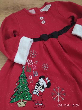 Sukienka czerwona świątecznaDisney Myszka Minnie mikołajka święta 86cm