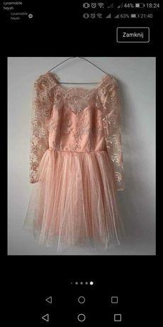 Lou, Clarissa - łososiowa, koronkowa sukienka