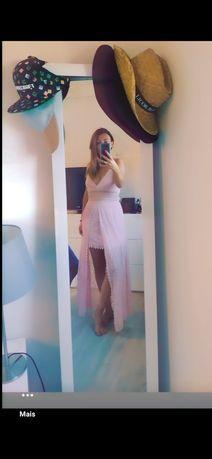 Vestido cerimônia rosa com renda