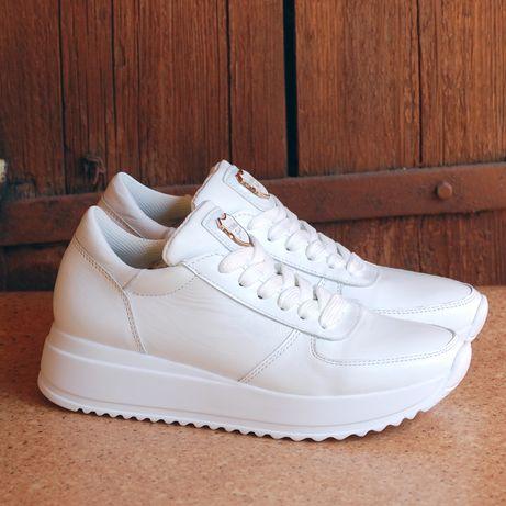 Кожаные женские кроссовки, кеды белые спортивные. Производство Украина