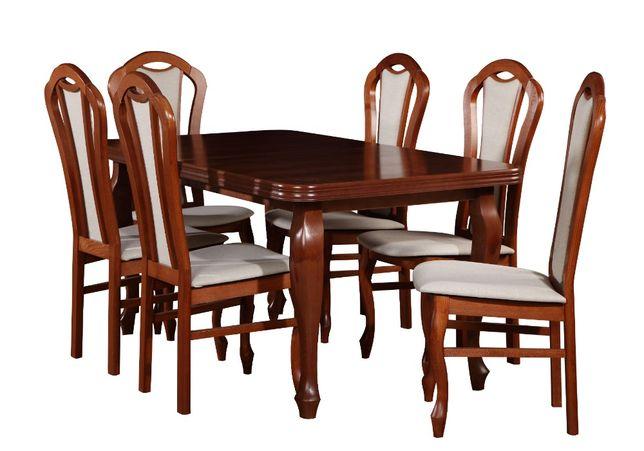 Stół rozkładany z 6 krzesłami jasny orzech