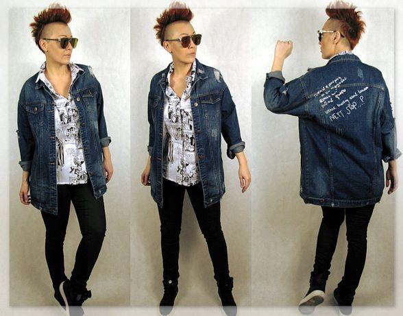NOWOŚĆ włoska niebanalna kurtka jeans roz M/L Kolekcja Wiosna/Lato