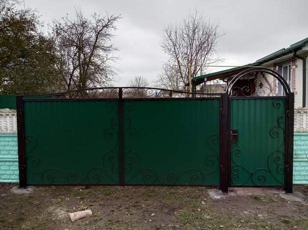 Заборы с профнастила, ворота и калитки,роспашные и откатные.