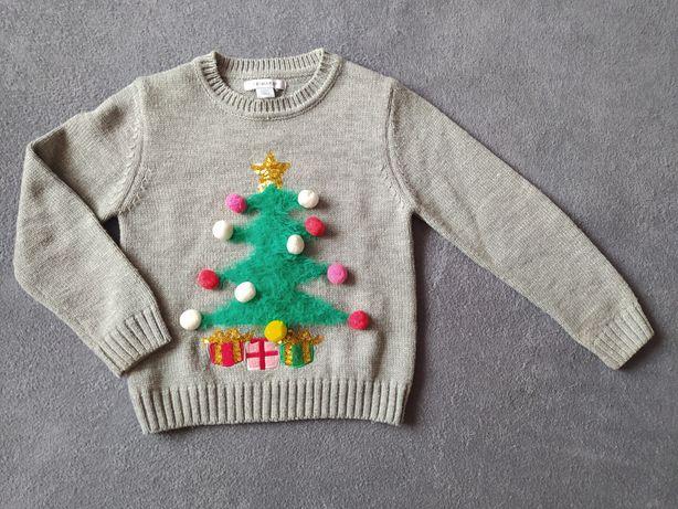 Świąteczny sweterek z grającą i świecącą choinką, Primark, r 110