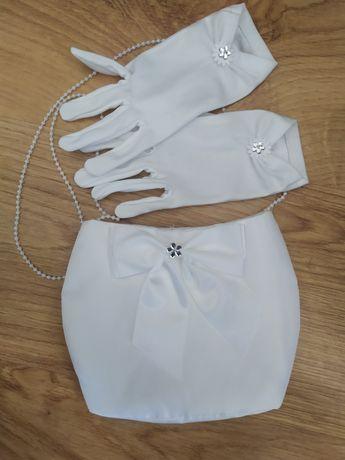 Torebka komunijna, rękawiczki.