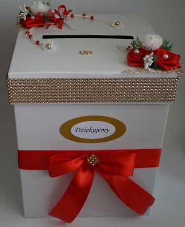 Duże Pudełko na koperty - Skarbonka kolor Czerwień, Zieleń z dodatkiem
