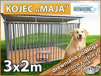 Kojec dla psa 3x2 MAJA drewniana podłoga miski konstrukcja ocynkowana