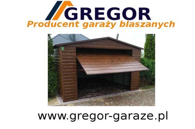 Garaż blaszany 4x5m blaszak drewnopodobny