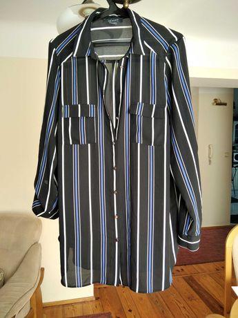 Dłuższa czarna koszulowa bluzka XXL/XXXL, 46/18, tunik.krój, jak nowa